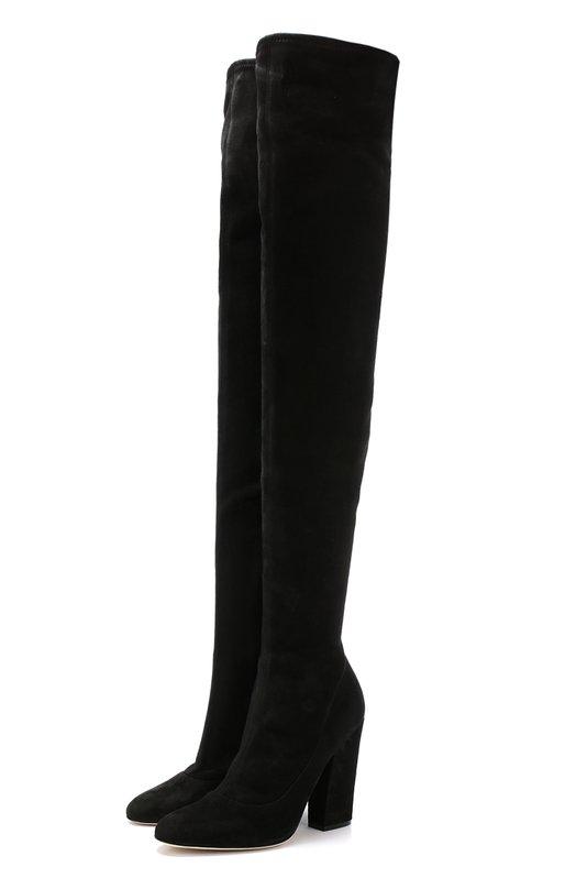 Купить Замшевые ботфорты на устойчивом каблуке Sergio Rossi, A75291-MAF714, Италия, Черный, Стелька-кожа: 100%; Подошва-кожа: 100%; Замша натуральная: 100%;