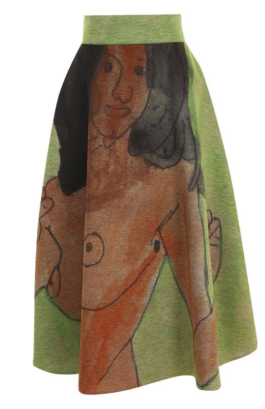 Купить Юбка-миди с широким поясом и принтом Christopher Kane, 482410/UEP24, Италия, Зеленый, Вискоза: 100%;