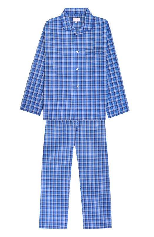 Купить Хлопковая пижама с принтом Derek Rose, 7005-RANG028/13-16, Чехия, Голубой, Хлопок: 100%;
