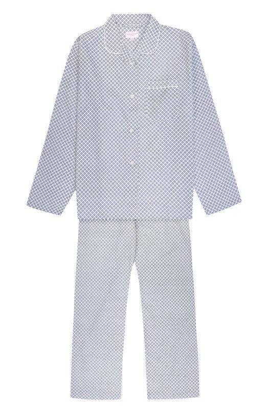 Купить Хлопковая пижама с принтом Derek Rose, 7006-LEDB003/13-16, Чехия, Белый, Хлопок: 100%;