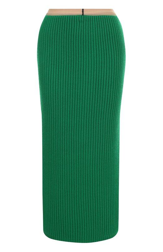 Купить Юбка-миди фактурной вязки CALVIN KLEIN 205W39NYC, 74WKSA08/K039, Италия, Зеленый, Шерсть: 70%; Кашемир: 30%;