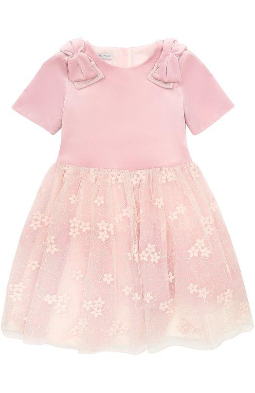 Купить Мини-платье с бантами и кружевной отделкой I Pinco Pallino, 1702101036/07487/8-10, Италия, Розовый, Хлопок: 98%; Шерсть: 50%; Акрил: 40%; Эластан: 2%; Подкладка-хлопок: 100%; Отделка-полиэстер: 100%; Полиамид: 10%;
