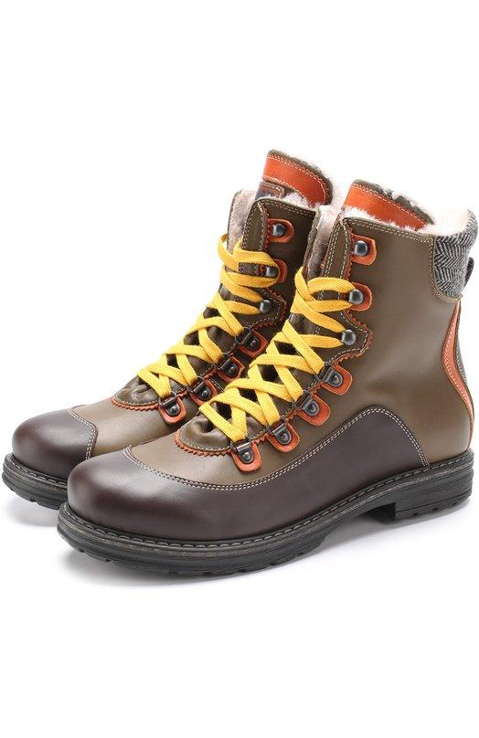 Купить Кожаные ботинки с контрастными вставками и внутренней отделкой из меха Dsquared2, 51704/36-41, Италия, Хаки, Кожа натуральная: 90%; Подошва-резина: 100%; Стелька-овчина: 100%; Текстиль: 10%;