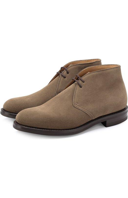 Купить Замшевые ботинки на шнуровке Church's, ETC001/9VE, Великобритания, Бежевый, Стелька-кожа: 100%; Подошва-резина: 100%; Замша натуральная: 100%;