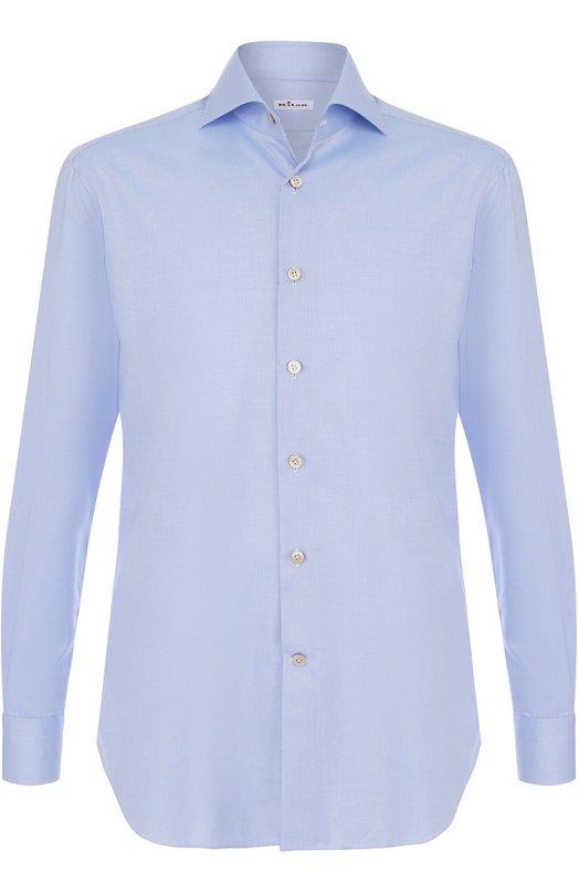 Купить Хлопковая сорочка с воротником акула Kiton, UCIH0003803004, Италия, Голубой, Хлопок: 100%;