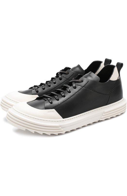 Купить Кожаные кеды на шнуровке с контрастной отделкой Artselab Италия 5197994 10813