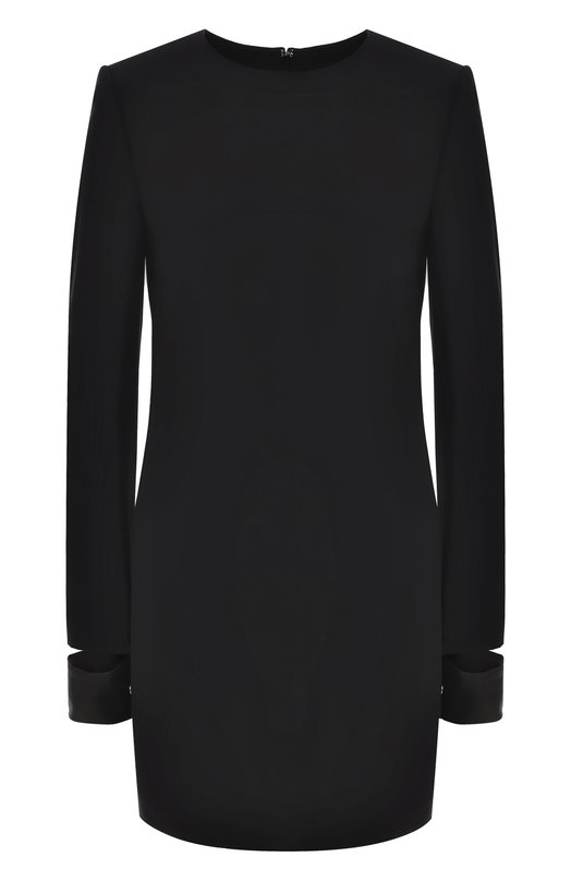 Купить Мини-платье с круглым вырезом и длинным рукавом Helmut Lang, H06HW603, Китай, Черный, Подкладка-полиэстер: 95%; Вискоза: 54%; Подкладка-эластан: 5%; Ацетат: 46%; Отделка кожа натуральная: 100%;