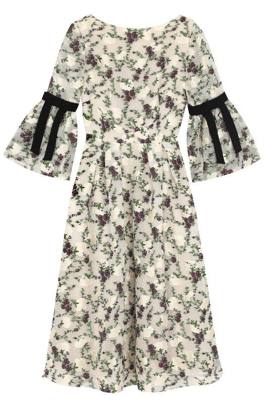 Купить Приталенное платье-миди с цветочным принтом Erdem, PF17_20785G0F, Португалия, Разноцветный, Полиэстер: 84%; Шелк: 15%; Подкладка-шелк: 100%; Полиамид: 1%;