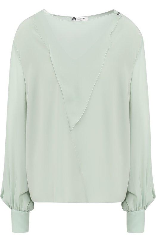 Купить Шелковая блуза свободного кроя с круглым вырезом Lanvin Италия 5195612 RW-T0627T-3513-A17