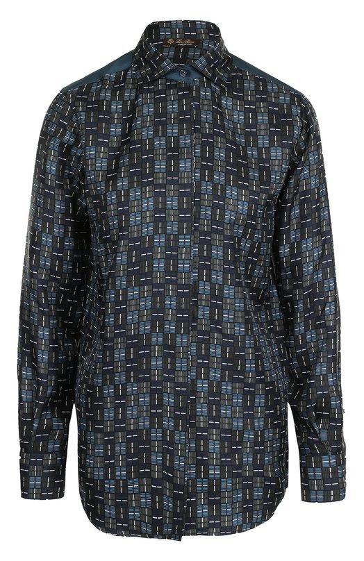 Купить Шелковая блуза прямого кроя с принтом Loro Piana, FAG4406, Италия, Зеленый, Шелк: 100%;