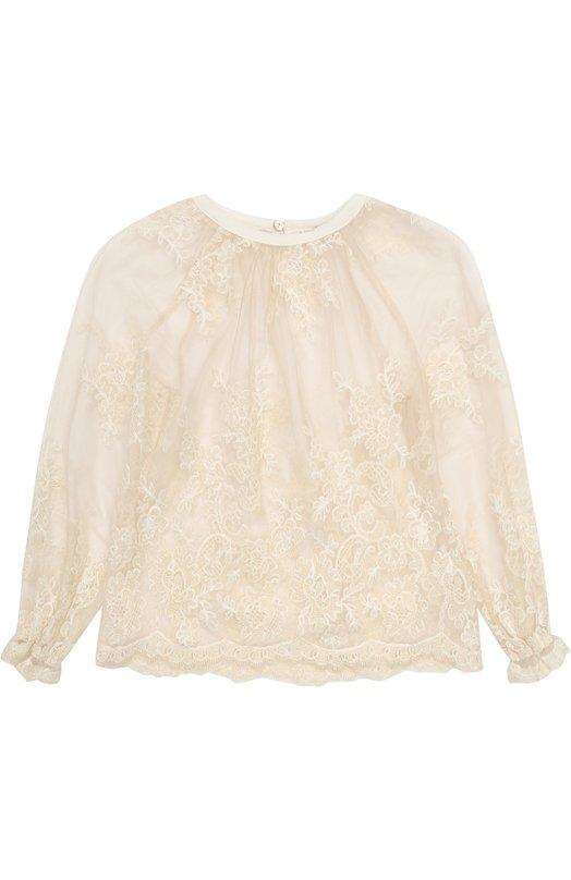 Купить Кружевная блуза свободного кроя Ermanno Scervino, 41 I TS10/4-8, Италия, Белый, Отделка-полиэстер: 6%; Отделка-акрил: 35%; Отделка-хлопок: 34%; Отделка-полиамид: 25%; Полиамид: 100%;