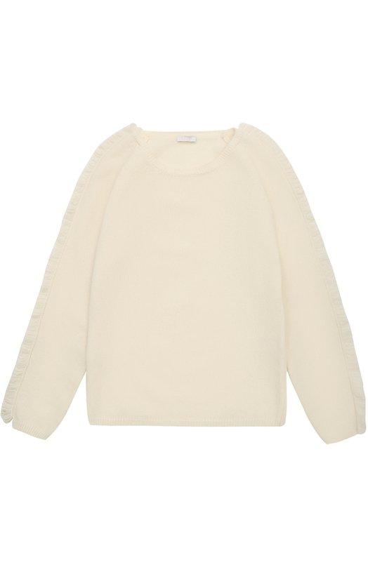 Купить Шерстяной пуловер с бахромой Il Gufo, A17MA213EM220/10A-12A, Мадагаскар, Кремовый, Шерсть: 100%;