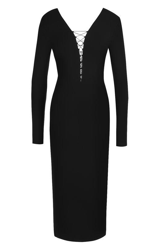 Купить Платье-футляр с V-образным вырезом и шнуровкой T by Alexander Wang, 4C376406A1, Вьетнам, Черный, Вискоза: 95%; Эластан: 5%;