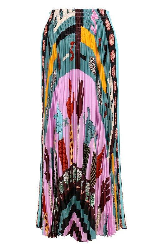Купить Шелковая плиссированная юбка с принтом Valentino, NB0RA2Z5/3LC, Италия, Разноцветный, Шелк: 100%;