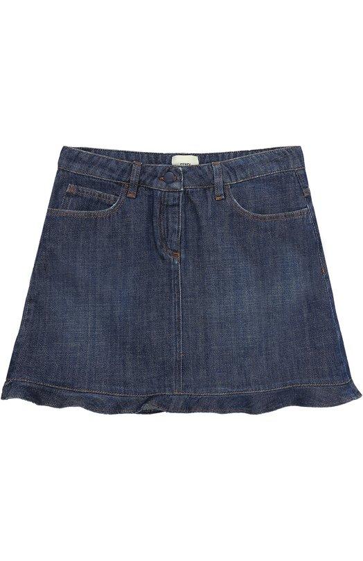 Купить Мини-юбка из денима с вышивкой и оборкой Fendi, JFE019/ST1/10A-12A, Италия, Синий, Хлопок: 100%;