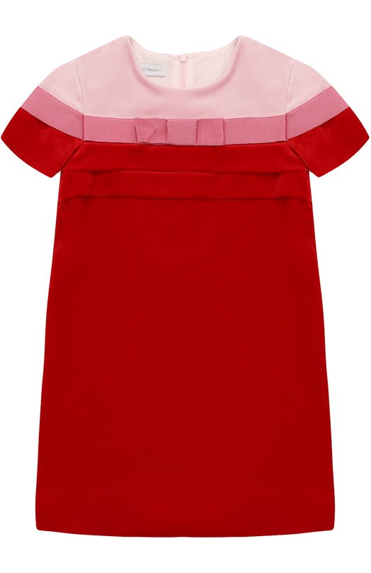 Купить Бархатное мини-платье прямого кроя с бантом I Pinco Pallino, 1702101034/07449/2-6, Италия, Красный, Хлопок: 98%; Эластан: 2%; Подкладка-хлопок: 100%;