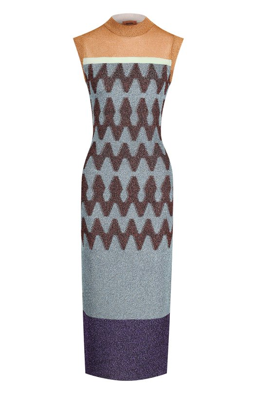 Купить Вязаное платье-миди без рукавов Missoni, I17.MD.208645, Италия, Разноцветный, Вискоза: 9%; Купра: 56%; Полиэфир: 35%;