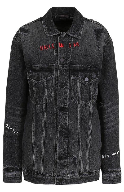 Удлиненная джинсовая куртка с потертостями Denim X Alexander Wang