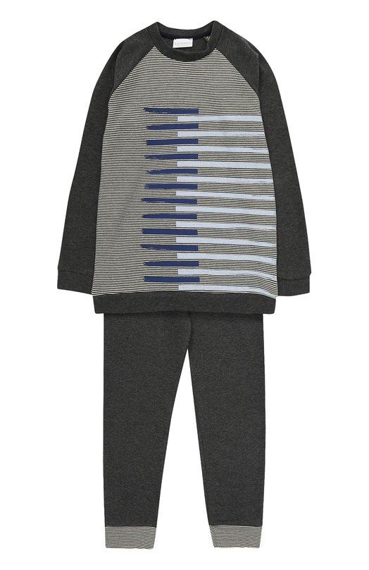 Купить Хлопковая пижама с принтом La Perla, 54662/8A-14A, Италия, Светло-серый, Хлопок: 96%; Полиамид: 4%;