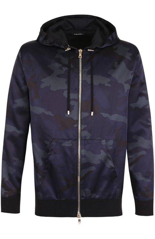 Купить Куртка из смеси хлопка и вискозы с камуфляжным принтом Balmain, W7H/6643/T148, Португалия, Темно-синий, Хлопок: 58%; Вискоза: 42%; Подкладка-хлопок: 100%;