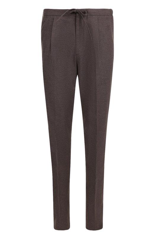 Купить Хлопковые брюки прямого кроя с поясом на кулиске Loro Piana, FAG3453, Италия, Коричневый, Хлопок: 98%; Эластан: 2%;