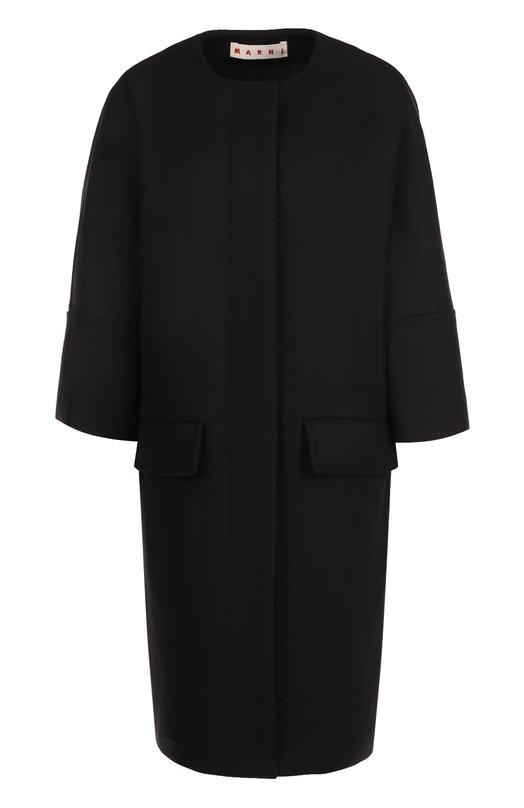 Купить Шерстяное пальто с круглым вырезом и укороченным рукавом Marni, CPMAS30U00/TW813, Италия, Черный, Шерсть: 80%; Подкладка-хлопок: 64%; Подкладка-вискоза: 36%; Полиамид: 20%;