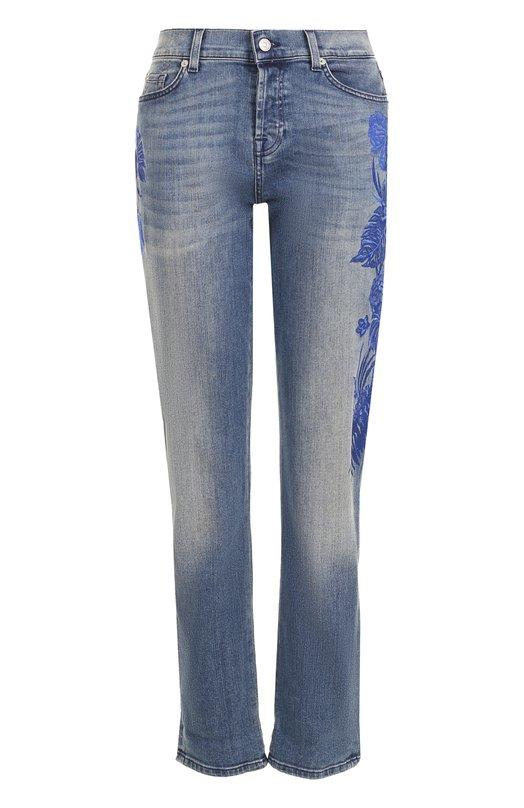 Купить Укороченные джинсы с потертостями и вышивкой 7 For All Mankind, SWJK750EL, Италия, Синий, Хлопок: 92%; Эластомультиэстер: 6%; Эластан: 2%;