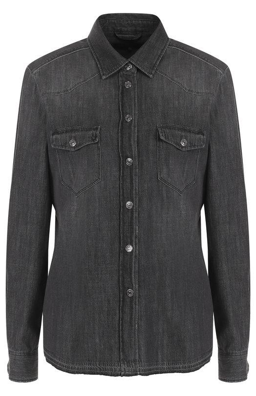 Джинсовая блуза прямого кроя с потертостями 7 For All Mankind