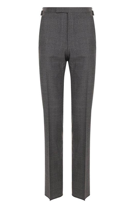 Купить Шерстяные брюки в клетку прямого кроя Tom Ford, 222R87/610041, Швейцария, Темно-серый, Шерсть: 100%; Подкладка-купра: 100%;