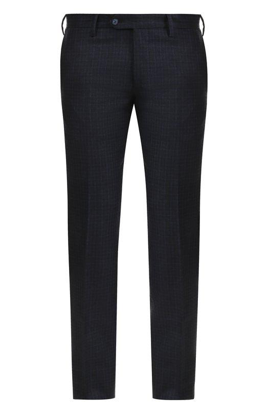 Купить Шерстяные брюки в клетку прямого кроя Germano, 328G/3637, Италия, Синий, Шерсть: 100%;