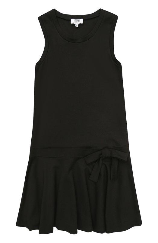 Купить Мини-платье джерси с оборкой и бантом Aletta, AF777424/9A-16A, Италия, Черный, Вискоза: 70%; Эластан: 4%; Полиамид: 26%;