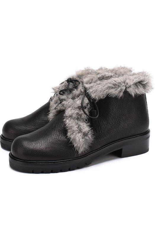 Купить Кожаные ботинки Furwalla с меховой отделкой Stuart Weitzman, FURWALLA/INDIAN NAPPA, Испания, Черный, Стелька-акрил: 80%; Стелька-полиэстер: 20%; Кожа натуральная: 100%; Подошва-резина: 100%;