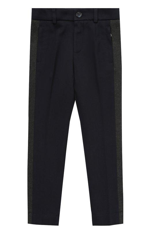 Купить Хлопковые брюки прямого кроя с лампасами Dolce & Gabbana, 0131/L4JPP7/G7LD0/8-12, Италия, Темно-синий, Хлопок: 100%;