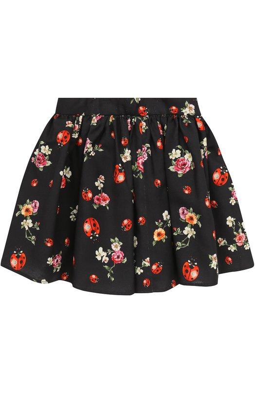 Хлопковая юбка-миди свободного кроя с принтом Dolce & Gabbana