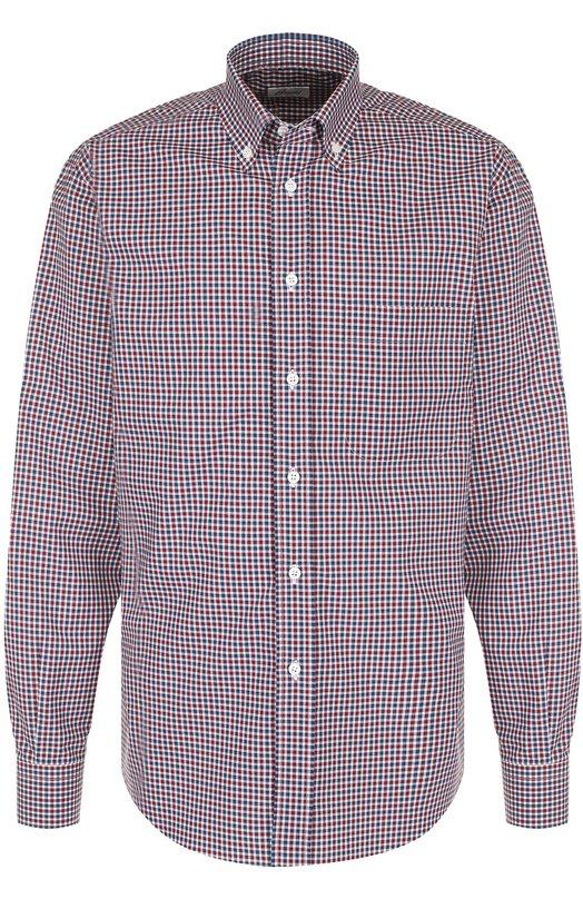Купить Хлопковая рубашка в клетку с воротником button-down Brioni, SC02/06053, Италия, Бордовый, Хлопок: 100%;
