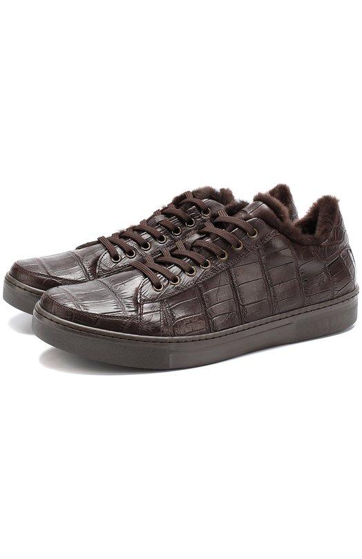 Купить Кеды из кожи крокодила на шнуровке Dami, 2979/CR0C0, Италия, Темно-коричневый, Стелька-кожа: 100%; Подошва-резина: 100%; Кожа/крокодил/: 100%;