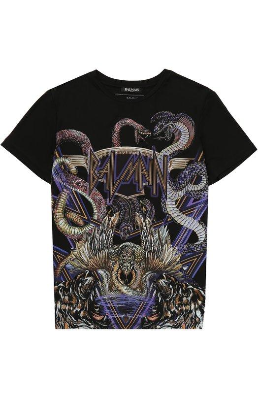 Купить Трикотажная футболка с принтом Balmain, W7E/8029/I078, Италия, Черный, Вискоза: 93%; Эластан: 7%;