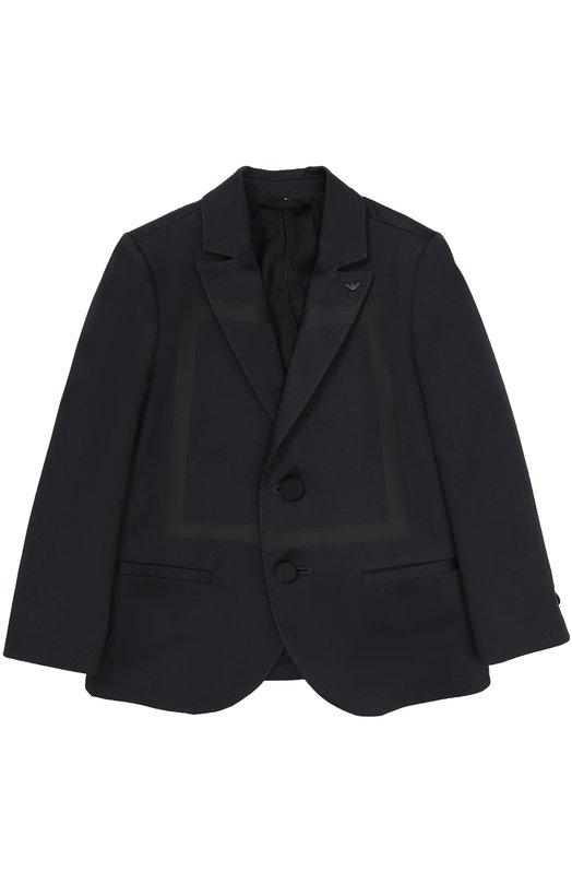 Однобортный пиджак из хлопка с прострочкой Armani Junior