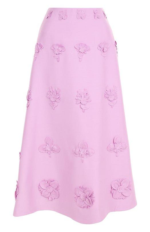 Юбка-миди А-силуэта с цветочной отделкой Valentino