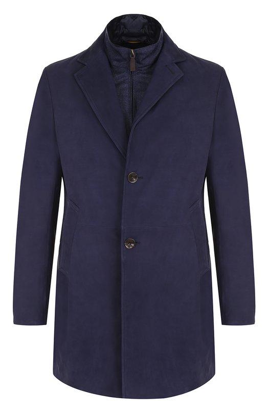 Однобортное кожаное пальто с подстежкой Canali