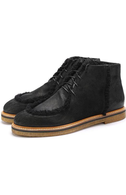 Купить Кожаные ботинки на шнуровке с внутренней меховой отделкой O.X.S. Италия 5201175 9R3622U.R648130101