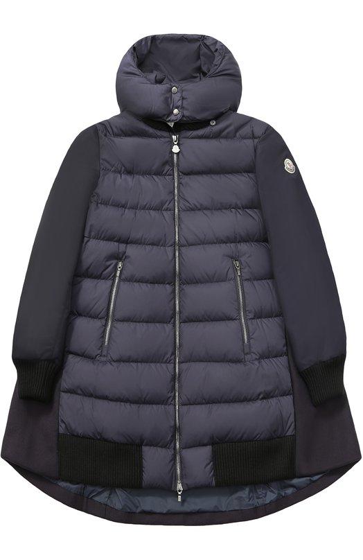 Купить Пуховое пальто с текстильной спинкой и капюшоном Moncler Enfant, C2-954-49387-85-68352/12-14A, Армения, Темно-синий, Пух: 90%; Шерсть: 75%; Полиамид: 25%; Подкладка-полиамид: 100%; Перо: 10%;
