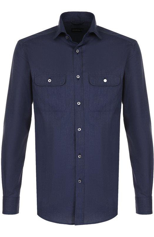 Купить Хлопковая рубашка с воротником кент Ermenegildo Zegna, UNX07/SRFT, Швейцария, Темно-синий, Хлопок: 100%;