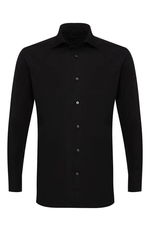Купить Хлопковая рубашка с воротником кент Ermenegildo Zegna, 201069/9MS0BR, Румыния, Черный, Хлопок: 100%;