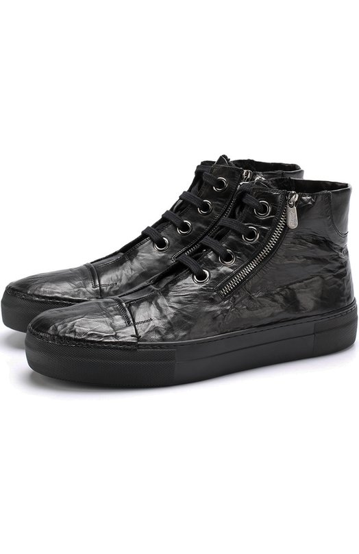 Купить Высокие кожаные кеды на шнуровке с внутренней меховой отделкой Rocco P., 3258V/04A, Италия, Черный, Кожа натуральная: 100%; Подошва-резина: 100%; Стелька-овчина: 100%;