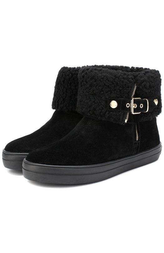 Купить Замшевые ботинки с внутренней отделкой из овчины Burberry, 4029973, Китай, Черный, Подошва-резина: 100%; Замша натуральная: 100%; Стелька-овчина: 100%;