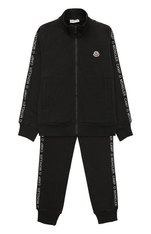 Купить Спортивный костюм из хлопка с контрастной отделкой Moncler Enfant, C2-954-88079-05-80385/12-14A, Румыния, Черный, Хлопок: 100%;