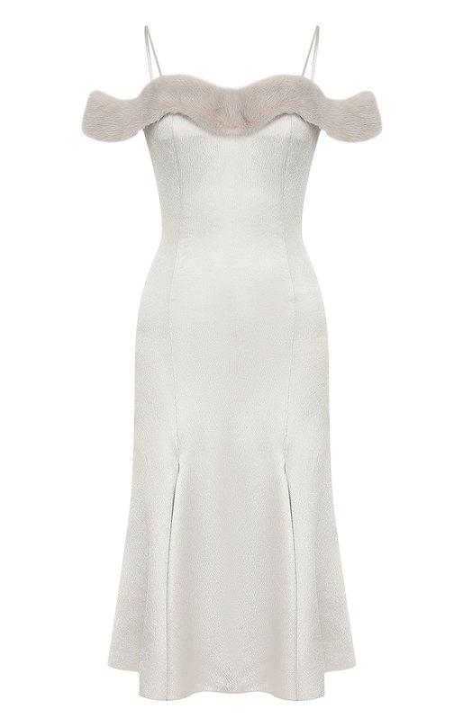 Купить Приталенное платье-миди с отделкой из меха норки Blumarine, 12386, Италия, Серый, Вискоза: 98%; Эластан: 2%; Отделка мех./норка/: 100%;