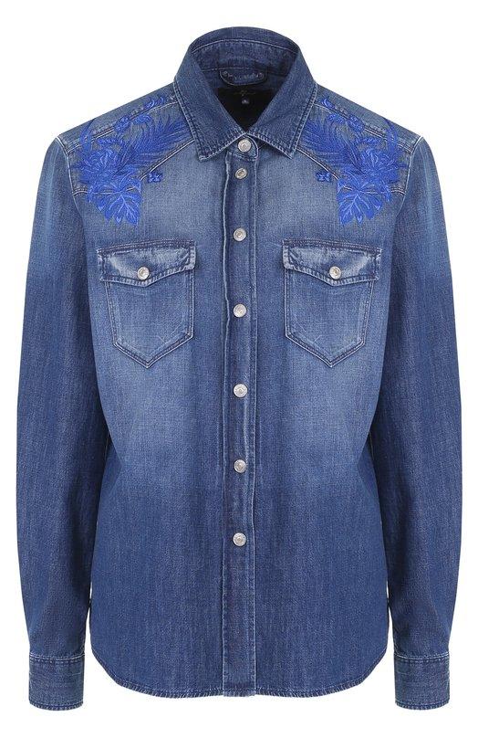 Джинсовая блуза с потертостями и принтом 7 For All Mankind