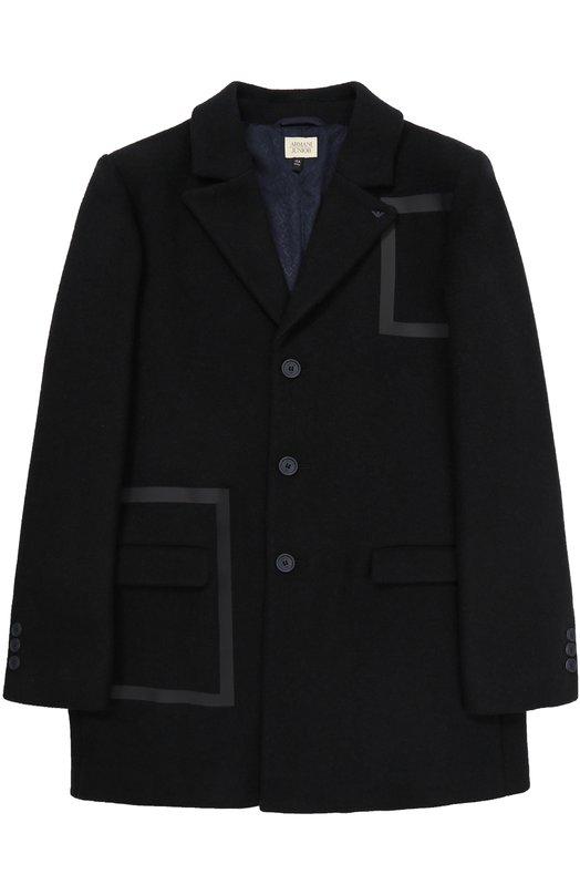 Купить Пальто прямого кроя на трех пуговицах Armani Junior, 6Y4L02/4N1RZ/11A-16A, Румыния, Темно-синий, Подкладка-вискоза: 70%; Шерсть: 55%; Полиэстер: 45%; Подкладка-полиэстер: 30%;